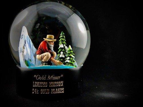 custom snow globe gold miner